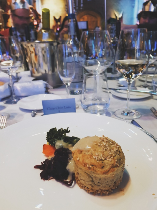 """My vegan maincourse """"Butternut squash and potato """"souffle"""" with puy lentils, root vegetables, broccoli and pine nuts with a white wine sauce"""""""