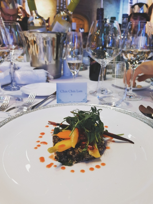 """My vegan starter, it was """"Quinoa with heritage carrots, blood orange and pomegranate salad"""""""