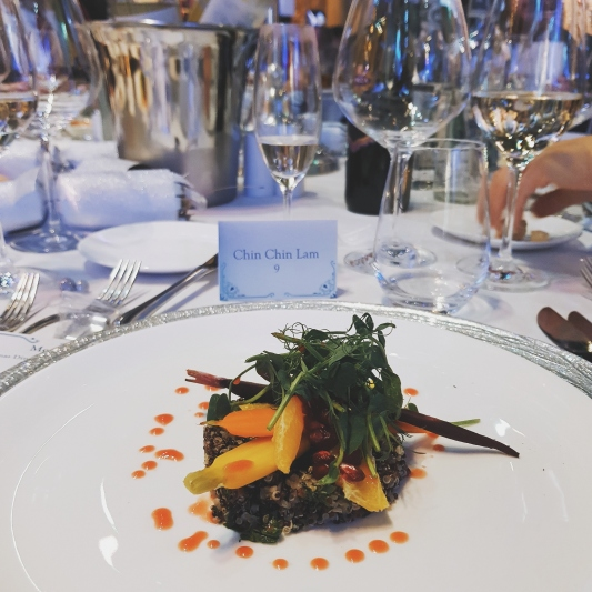 "My vegan starter, it was ""Quinoa with heritage carrots, blood orange and pomegranate salad"""